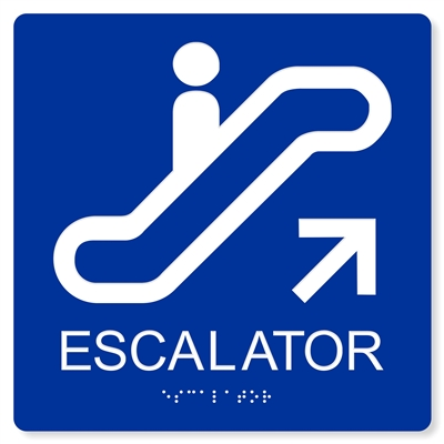 Ada Escalator Up Sign 4 Colors Available